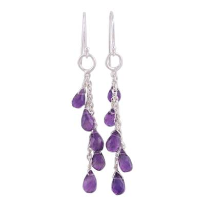 Sterling Silver Waterfall Amethyst Earrings from India