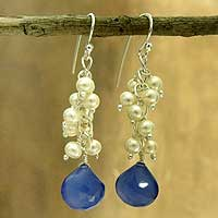 Pearl and chalcedony cluster earrings, 'Navy Shimmer' - Blue Chalcedony Earrings with Pearls and Sterling Silver