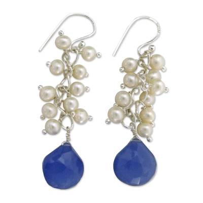Blue Chalcedony Earrings with Pearls and Sterling Silver