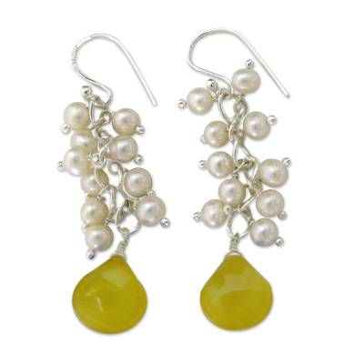 Pearl and chalcedony cluster earrings