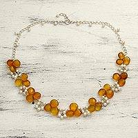 Pearl and chalcedony cluster necklace, 'Golden Shimmer' - Pearl and Chalcedony Necklace from India