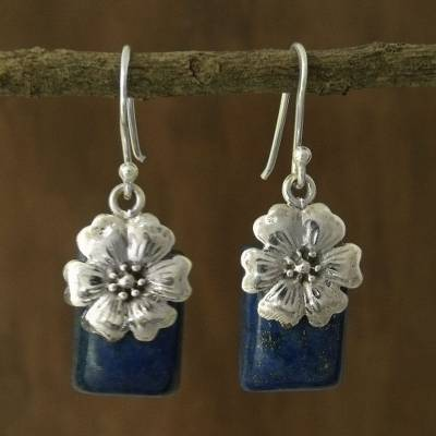 Lapis lazuli flower earrings, 'Blue Lily' - Fair Trade Floral Sterling Silver and Lapis Lazuli Earrings
