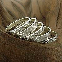 Sterling silver stacking rings, 'Versatility' (set of 5)