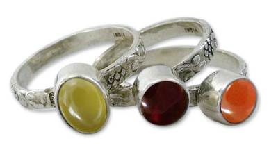 Garnet and carnelian stacking rings, 'Mystical Trio' (set of 3) - Garnet and carnelian stacking rings (Set of 3)