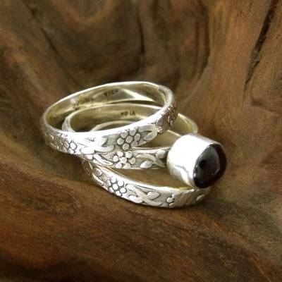 Garnet stacking rings, 'Lone Rose' (set of 3) - Floral Sterling Silver Stacking Garnet Rings (Set of 3)