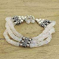 Rainbow moonstone beaded bracelet, 'Pure Love' - Beaded Jewelry Rainbow Moonstone Bracelet Sterling Silver