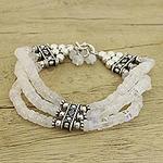 Beaded Jewelry Rainbow Moonstone Bracelet Sterling Silver , 'Pure Love'