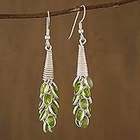 Peridot cluster earrings, 'Lime Bouquet' - Collectible jewellery Sterling Silver Peridot Earrings