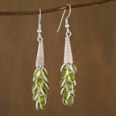 Lime Bouquet - Sterling Silver Peridot Earrings