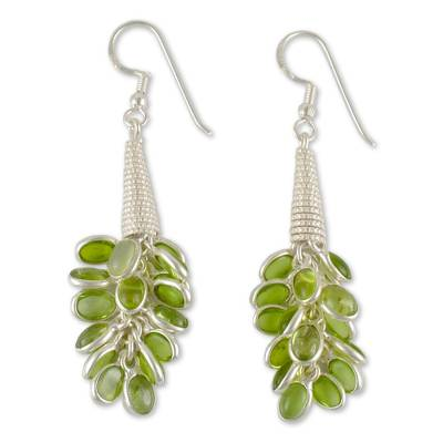Hand Made Sterling Silver and Peridot Indian Earrings