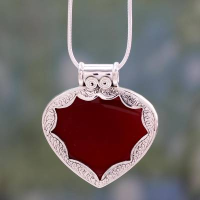 Carnelian heart necklace, 'Flamboyant' - Hand Made Sterling Silver with Carnelian Heart Necklace