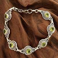 Peridot link bracelet, 'Green Mystique'