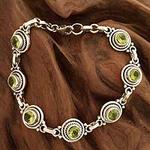 Peridot Bracelet Women's Sterling Silver Bracelet, 'Green Mystique'