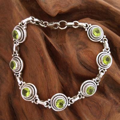 Peridot link bracelet, 'Green Mystique' - Peridot Bracelet Women's Sterling Silver Bracelet
