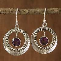 Amethyst dangle earrings, 'Moon Wisdom' - Amethyst dangle earrings