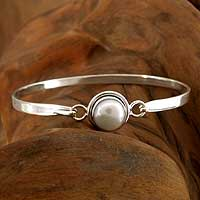 Pearl bangle bracelet, 'Aesthetic Moon' - Uniquely Handcrafted Indian Sterling Silver Bracelet