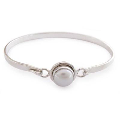 Handcrafted Indian Sterling Silver Bangle Pearl Bracelet