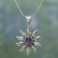 Amethyst pendant necklace, 'Purple Sun'
