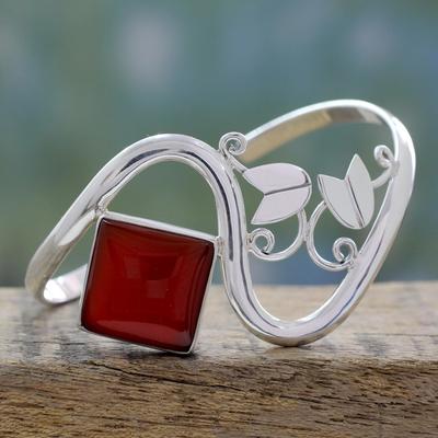 Carnelian cuff bracelet, 'Arabesque' - Sterling Silver Cuff Bracelet with Carnelian Floral Jewelry