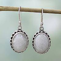 Moonstone dangle earrings, 'Misted Moon' - Unique Moonstone and Silver Earrings