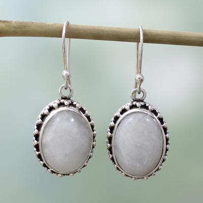 Moonstone dangle earrings, 'Misted Moon' - Moonstone Earrings Artisan Crafted in Sterling Silver