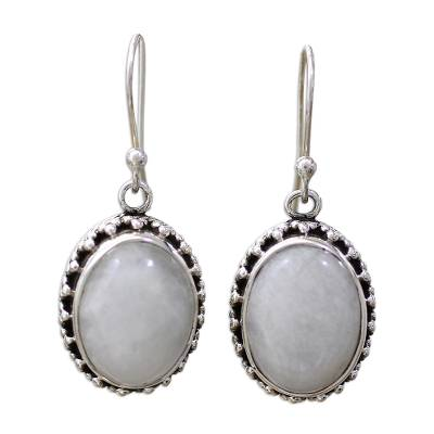 Moonstone Earrings Artisan Crafted in Sterling Silver