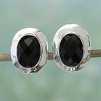 Onyx button earrings, 'Embrace' - Cool Black Onyx Earrings by Indian Jewelry Artisan
