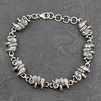 Sterling silver link bracelet, 'Fortunate Elephants' - Elephant Jewelry Bracelet Sterling Silver from India