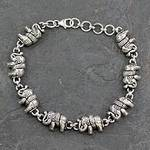 Elephant Jewelry Bracelet Sterling Silver from India, 'Fortunate Elephants'