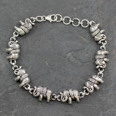 Sterling silver link bracelet, 'Fortunate Elephants' - Elephant jewellery Bracelet Sterling Silver from India