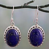 Lapis lazuli dangle earrings, 'Blue Mystique' - Dazzling Blue Lapis Lazuli and Sterling Silver Earrings