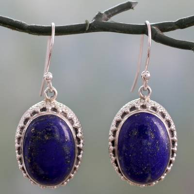 Lapis lazuli dangle earrings, 'Blue Mystique' - Hand Crafted Sterling Silver and Lapis Lazuli Earrings