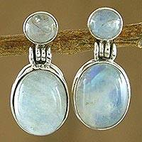 Moonstone dangle earrings, 'Moonlight Delight' - Handcrafted Sterling Silver and Moonstone Earrings