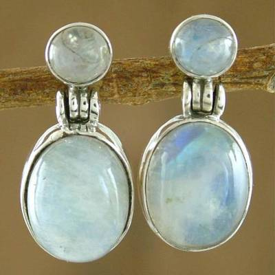 Moonstone dangle earrings, Moonlight Delight