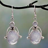 Rainbow moonstone dangle earrings, 'Goddess'
