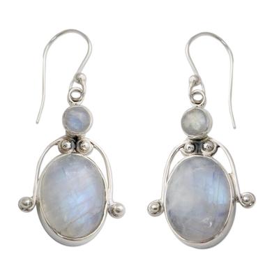 Rainbow moonstone dangle earrings, 'Goddess' - Fair Trade Sterling Silver Rainbow Moonstone Earrings