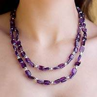Amethyst strand necklace, 'Earthly Paradise'