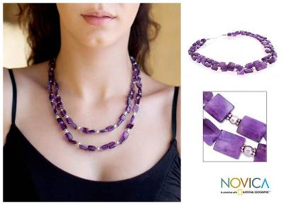 Amethyst strand necklace, 'Earthly Paradise' - Amethyst strand necklace
