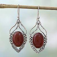 Carnelian dangle earrings, 'Passion Leaf' - Carnelian Earrings in Sterling Silver from India