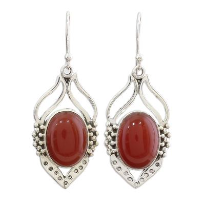 Carnelian dangle earrings, 'Passion Leaf' - Carnelian Earrings in Sterling Silver from India