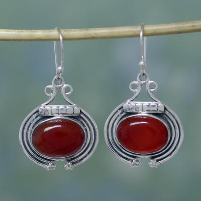Carnelian dangle earrings, 'Desire' - Artisan jewellery Earrings with Carnelian and Sterling Silve