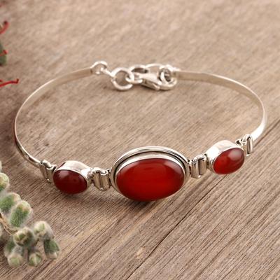 Carnelian pendant bracelet, 'Mystique' - Sterling Silver and Carnelian Modern Bracelet Jewelry