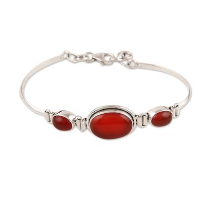 Hand Crafted Sterling Silver and Carnelian Modern Bracelet