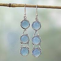 Blue chalcedony dangle earrings, 'Blue Dew'