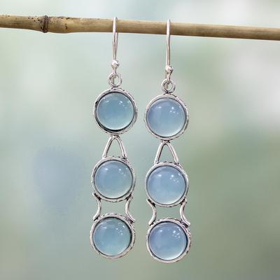 Blue chalcedony dangle earrings, 'Blue Dew' - Sterling Silver and Chalcedony Earrings Blue Jewelry