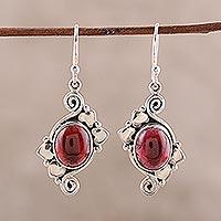 Garnet dangle earrings, 'Love Notes' - Artisan Crafted Garnet and Sterling Silver Earrings