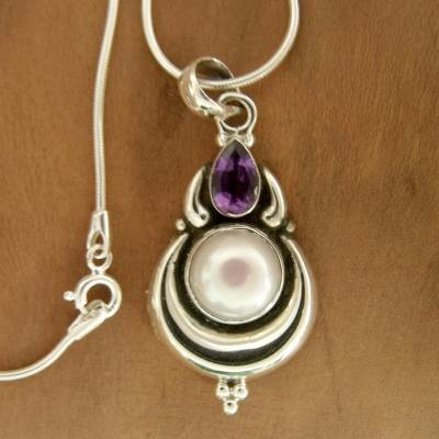 Grand Indian Necklace with Pearl and Amethyst on Silver