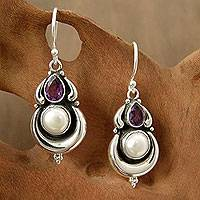 Cultured pearl and amethyst dangle earrings, 'Jaipur Moon'