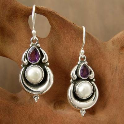 Cultured pearl and amethyst dangle earrings, Jaipur Moon