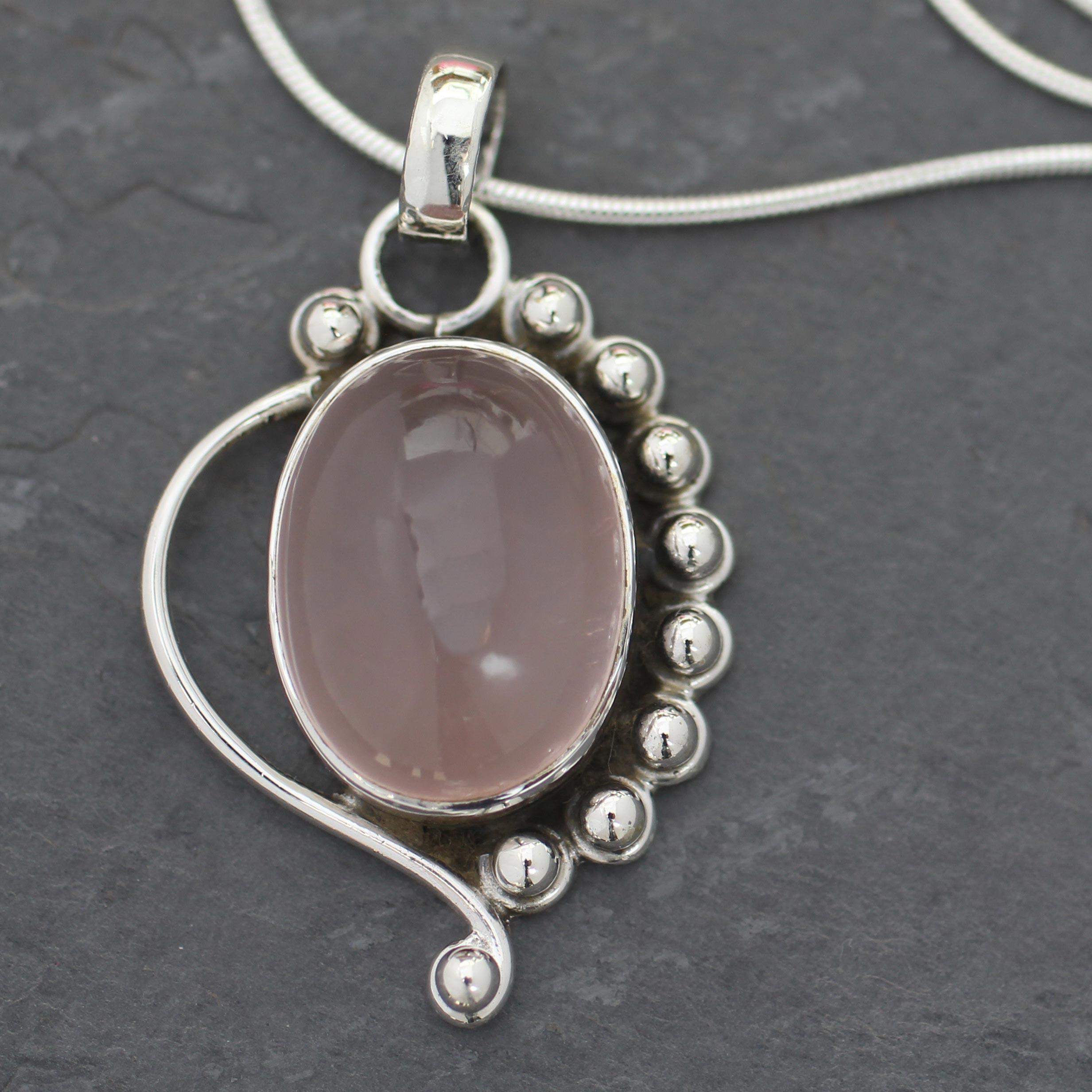 Rose Quartz Necklace Quartz Crystal Necklace Silver Rose Quartz Necklace